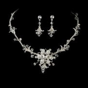 Swarovski Crystal Silver Rhinestone necklace and earrings set Bridal Set