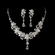 Silver or Gold Swarovski Rhinestone Necklace Earrings Bridal Set