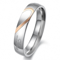 Lover's Heart Shape Titanium Stainless Steel Promise Ring Real Love Couple Wedding Bands (Ladies' Ring, 7)