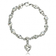 Arinna Attractive Heart Wedding Chain Bracelet White Gp Swarovski Clear Crystal