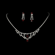 Silver Red Crystal Chandelier Bridal Wedding Necklace Earring Set
