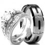 Wedding rings set His and Hers TITANIUM & STAINLESS STEEL Engagement Bridal Rings set (Size Men's 10 Women's 5)