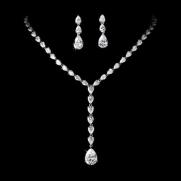 Couture Collection Silver Cubic Zirconium CZ Rhinestone Bridal Necklace and Earrings set