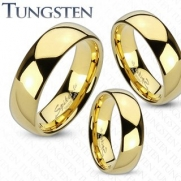 Tungsten Carbide Gold IP Shiny Finish Traditional Wedding Band; Comes with Free Gift Box (6)