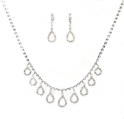 Elegant New Jewelry Set - Bridal Formal Prom: Silver with Imported Crystal / Rhinestone