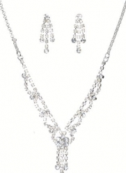 Unforgettable New Jewelry Set - Bridal Formal Prom: Silver with Imported Crystal / Rhinestone