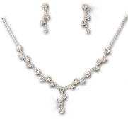 Silver Plated Sparkle Rhinestone Bridal Wedding Necklace & Earring Set