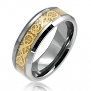 8mm Comfort Fit Mens Ladies Tungsten Wedding Band Ring with Gold Celtic Dragon Inlay (5)