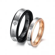 Fashion Black Plated His & Hers Gold-plated Titanium Stainless Steel Couples Forever Love Rings Set (Ladies' Size 6)