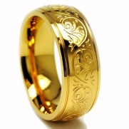 7MM GOLD PLATED Stainless Steel Ring With Engraved Florentine Design Size 6