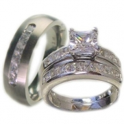 Edwin Earls 3 Pieces His & Her Sterling Silver & Titanium Matching Engagement Wedding Bridal Ring Set. Available Sizes (Men's 8-13); (Women's Set: 5-10) Please Email Us with Your Sizes.