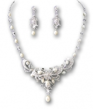 Silver Crystal White Bridal Wedding Necklace Earring Set
