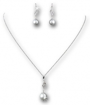 Sterling Silver Cubiz Zirconia Crysta White Simulated Pearl Necklace Earring Set