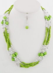 Trendy Fashion Jewelry - Beaded Turquoise Set - By Fashion Destination (Lime) | Free Shipping