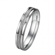 Pearl Sand Seel Ring Titanium Stainless Steel Couple Wedding Band (Ladies' Ring, 4)