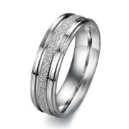 Pearl Sand Seel Ring Titanium Stainless Steel Couple Wedding Band (Men's Ring, 6)