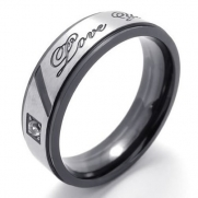 Men - Size 6 - KONOV Jewelry Classic Lover's Mens Womens Ladies Titanium Stainless Steel Cubic Zirconia One-Stone Promise Ring Love You Couples Engagement Wedding Bands for him, Black Silver (with Gift Bag)