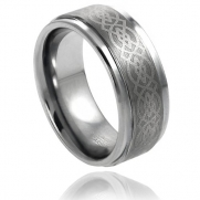 Tungsten Carbide 8MM Wedding Band Ring With Laser Etched Celtic Knot Design (7.5)
