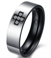 Black Silver Polished 316l Stainless Steel Rings Polished Heart Cross Cz Matching Wedding Bands (Men's Ring 6mm, 7)