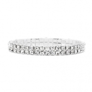 Bridal Elastic Premium CZ Rhinestone Bracelets. Ideal for Weddings, Engagements & Prom. 2 Rows.