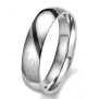 Lover's Heart Shape Titanium Stainless Steel Mens Ladies Promise Ring Real Love Couple Wedding Bands (Men's Ring, 5)