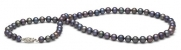 AAA Quality, 6.5-7mm Black Freshwater Pearl Necklace, 16 inches, 14k White Gold