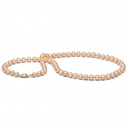 AAA Quality, 6.0-7.0 mm Pink/Peach Freshwater Pearl Necklace, 16-inch, 14k White Gold Clasp