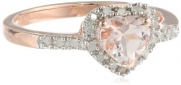 Rose Gold Plated Sterling Silver Morganite and Diamond Heart Ring, (.1 Cttw, G-H Color, I2-I3 Clarity), Size 7
