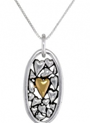Two-Tone Sterling Silver and Yellow Gold-Plated Mother and Daughter  Heart Pendant Necklace, 18