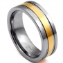 JewelryWe 8mm Unisex Men's Golden & Silver Tone Tungsten Carbide Ring Aniversary/engagement/wedding Band