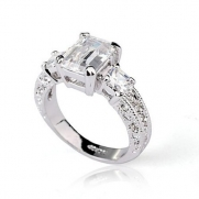 Fashion Plaza 18k White Gold Plated Use Swarovski Crystal Engagement Wedding Spark Ring R023 (6)