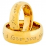 His And Hers Wedding Ring Sets Tungsten Carbide Gold IP (i Love you forever and ever) Bride & Groom Sets