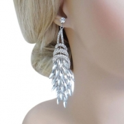Bridal Silver-Tone Flower Bouquet Tear Drop Dangle Earrings Clear Austrian Crystal N01264-4