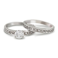 Round Cut CZ Wedding Bridal Engagement Ring Set (8)