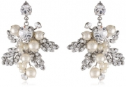 Nina 'Adele' Pearl and Crystal Cluster Ivory and Silver Drop Earrings