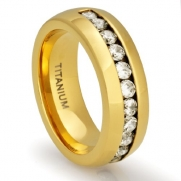 8MM Men's Titanium 18K Gold Plated Ring Wedding Band with Channel Set CZ Simulated Diamonds (Available in Sizes 8 to 13) [Size 8]