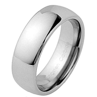 8mm Tungsten Carbide Classic Silver White Mirror Polish Dome Shape Band Men's Wedding Ring