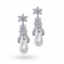 Bling Jewelry CZ Shell Pearl Teardrop Bridal Chandelier Earrings Art Deco Style Rhodium Plated