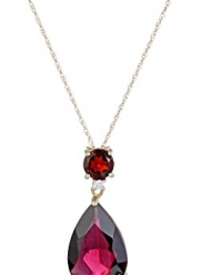 10k Yellow Gold Garnet and Diamond Pendant, 18