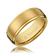 8MM Men's Titanium Gold-Plated Ring Wedding Band with Flat Brushed Top and Polished Finish Edges [Size 8.5]