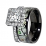 Hers Titanium Camo and Sterling Silver Halo Engagement Wedding Rings Set (Size Women 6)