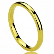 Unisex Women's 2MM Titanium Comfort Fit Wedding Band Ring Yellow Gold Plated High Polished Classy Domed Ring (5 to 11) - Size: 6.5