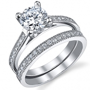 1.25 Carat Round Brilliant Cubic Zirconia Sterling Silver 925 Wedding Engagement Ring Band Set 6