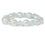 Small Faux Pearl and crystal bracelet bridal bracelet Ivory Faux Pearl and Clear Crystal Bracelet