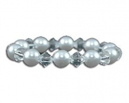 Small Faux Pearl and crystal bracelet bridal bracelet White Faux Pearl and Clear Crystal Bracelet