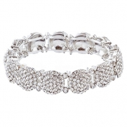 ACCESSORIESFOREVER Bridal Wedding Jewelry Crystal Rhinestone Gorgeous Stretch Bracelet B527 Silver