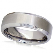 7mm Beveled Edge Comfort Fit Titanium Plain Wedding Band ( Available Ring Sizes 7-12 1/2) Sz 9.5