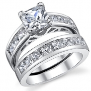 1 Carat Radiant Cubic Zirconia CZ Sterling Silver 925 Wedding Engagement Ring Band Set 5
