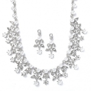 Silver-Tone Vintage White & Crystal Jewelry Wedding Necklace Earring Set