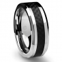 Cavalier Jewelers 8MM Jewelry Grade Stainless Steel Ring Wedding Band with Black Carbon Fiber Inlay [Size 9.5]